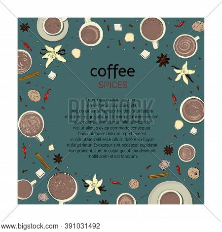 Vector Template Of Coffee Or Tea For Cards, Invitations, Menus, Banners. Graphic Hand Drawings In Sk