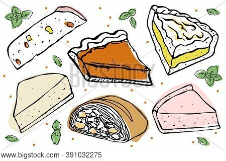 A Set Of Slices Of Pies With Various Fillings. Easter Cake, Strudel, Cheesecake, Pumpkin Pie, Lemon