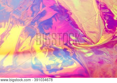Abstract Holographic Background, Bright Pink, Yellow Colors, Blurred, Beautiful 90s Style Wall Paper