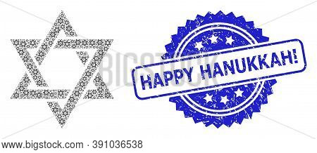 Happy Hanukkah Exclamation Corroded Stamp Seal And Vector Recursive Mosaic David Star. Blue Stamp Co