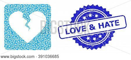 Love And Hate Rubber Stamp Seal And Vector Recursion Mosaic Divorce Heart. Blue Stamp Seal Includes