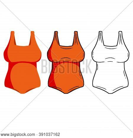 Red Bathing Suit. Set Of Color Women Beachwear. Modern Fashionable One-piece Swimsuit For Swimming A