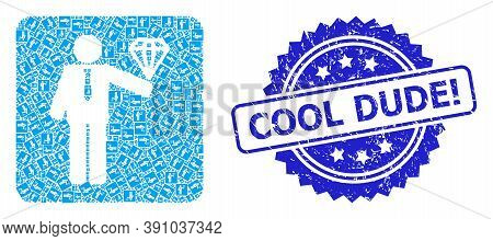 Cool Dude Exclamation Grunge Stamp And Vector Recursive Collage Groom Diamond. Blue Stamp Has Cool D