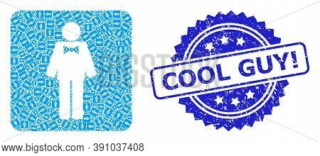 Cool Guy Exclamation Grunge Seal Print And Vector Recursive Mosaic Groom. Blue Seal Has Cool Guy Exc