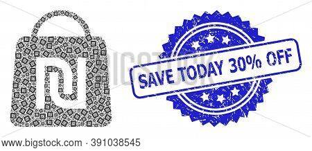 Save Today 30 Percent Off Dirty Stamp Seal And Vector Fractal Collage Shekel Shopping Bag. Blue Stam