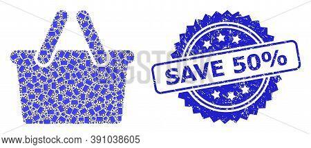 Save 50 Percent Unclean Seal And Vector Recursive Mosaic Shopping Bag. Blue Stamp Seal Has Save 50 P