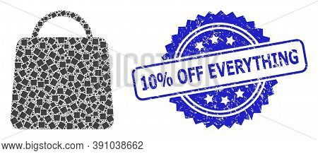 10 Percent Off Everything Rubber Stamp And Vector Recursion Collage Shopping Bag. Blue Stamp Seal In