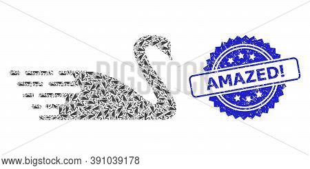 Amazed Exclamation Dirty Stamp Seal And Vector Recursion Mosaic Swan. Blue Stamp Seal Includes Amaze
