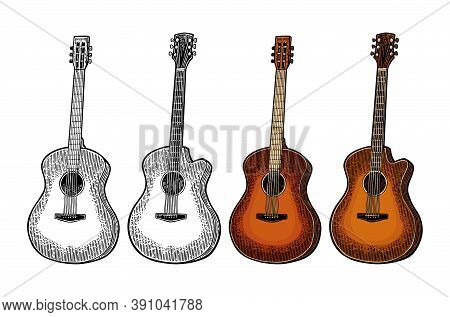 Acoustic Guitar. Vintage Vector Color Engraving Illustration