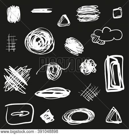 Tangled Geometric Shapes. Hand Drawn Geometric Scrawls. Black And White Illustration