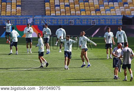 Kyiv, Ukraine - October 12, 2020: Training Session Of Spain National Team Before The Uefa Nations Le