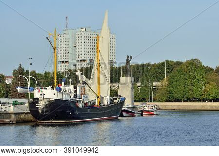 Kaliningrad, Russia - September 30, 2020: Average Fishing Trawler Stands On The Roadstead Of The Wor