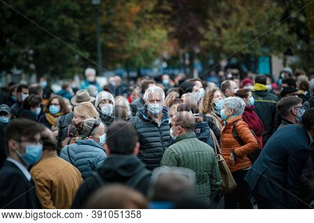 Strasbourg, France - Oct19, 2020: Sad People Gathered At The Place Kleber To Pay Tribute To History