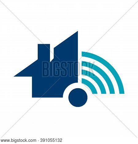 Wifi House Home Logo Vector. Smart Home Tech Internet In The House Logo Concept Illustration
