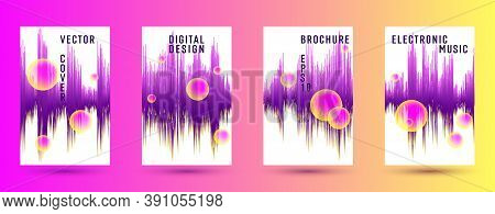 Music Banners Set With Dj Equalizer Background.  Abstract Audio Record Amplitude.  Distorted Sound W