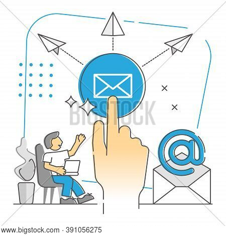 Sending E-mails As Global Widespread Messaging Monocolor Outline Concept. Mailbox Service For Mail L