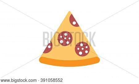 Slice Of Pizza On A White Background, Vector Illustration. Appetizing Pizza On Thin Crust Stuffed Wi