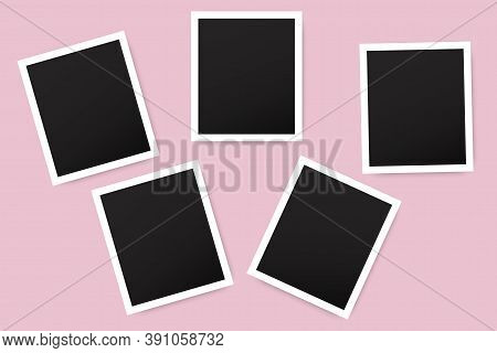 Vector Illustration Of Blank Old Vintage Photo On Pink Background. Album Photo Template. Stock Image