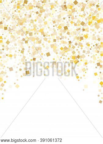 Trendy Gold Confetti Sequins Sparkles Falling On White. Glittering Christmas Vector Sequins Backgrou