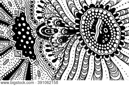 Ornament Doodle Pattern For Coloring Book For Adults. Coloring Page With Floral Motifs. Psychedelic