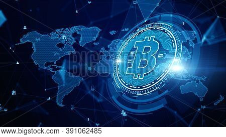 Bitcoin Blockchain Crypto Currency Digital Encryption, Digital Money Exchange, Technology Network Co