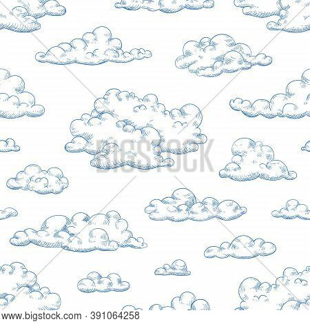 Seamless Pattern With Fluffy Clouds Or Cumulus. Drawing Of Cloudy Sky. Monochrome Background With Cl