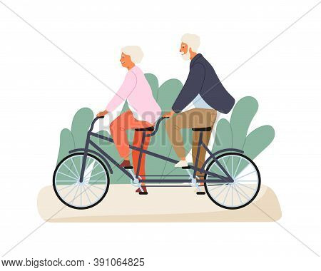 Active Grandparents Ride Tandem Bike In Summer Park. Elderly Couple Spend Time Together Outdoors. Fl