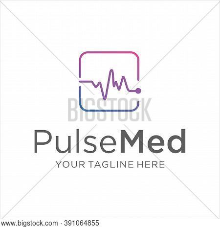 Medical Pulse Logo Design Template. Pulse Wave Logo Design Concept. Health Pulse Logo Template Vecto