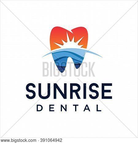 Dentistry Sunrise Logo Design Simple Stock Vector. Dental On The Beach Logo Design Inspiration. Heal