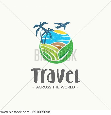 Travel Agency Logo On White Background. Symbol Of Vacation. Creative Travel Logo For Tourist, Vacati