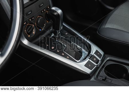 Novosibirsk, Russia - October 16, 2020: Opel Antara, Close-up View Of The Automatic Gearbox Lever. I