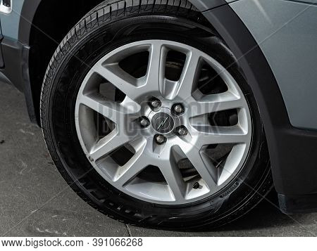 Novosibirsk, Russia - October 16, 2020: Opel Antara, Car Wheel With Alloy Wheel And New Rubber On A