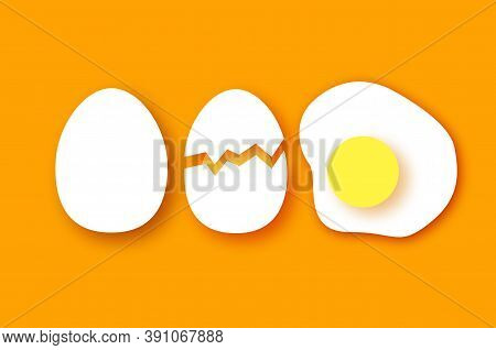 Eggs In Shell, Fried, Half. Broken Egg And Yolk. Farm Products. Fast Food. Natural Product. Omelet P