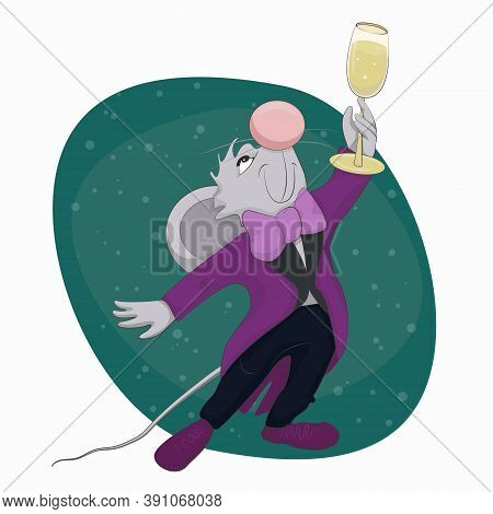 Cute Mouse In Tuxedo Raises A Glass Of Champagne Funny Vector Illustration