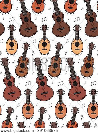Seamless Pattern With Contour Ukuleles With Musical Notes On White Background. Hawaiian Music. Music