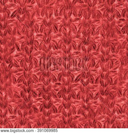 Red Nordic Knitting. Xmas Scandinavian Pullover. Organic Wool Garment. Seamless Knitwear Warm Carpet
