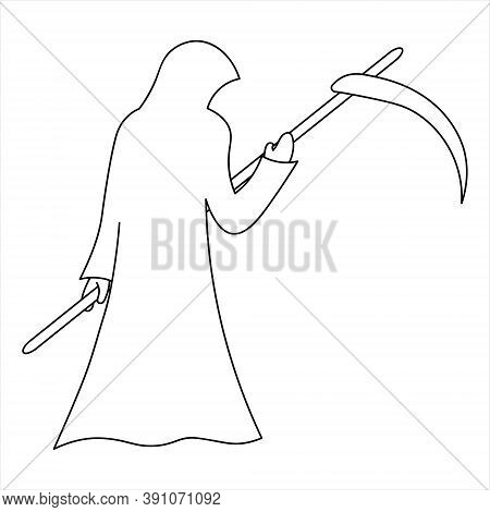 Grim Reaper. Sketch. Halloween Symbol.vector Illustration. Outline On An Isolated White Background.