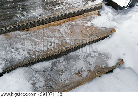 Slippery Wooden Steps Covered With Ice, Outdoor Close-up