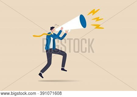 Business Shout Out, Speaking Out Loud To Communicate With Co-worker Or Draw Attention And Announce P
