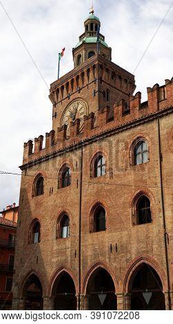 Bologna / Italy - August 29, 2020: Palazzo Comunale Or Palazzo D\'accursio In Bologna, Italy.
