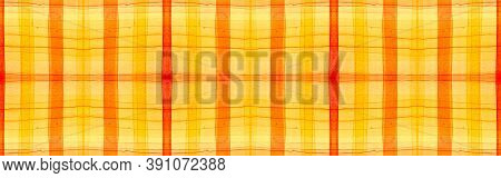 Red Tartan Background. Watercolour Picnic Textile. Color Geometric Squares For Twill Print. Seamless