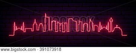 Red Neon Skyline Of Ankara. Bright Ankara City Long Banner. Vector Illustration.