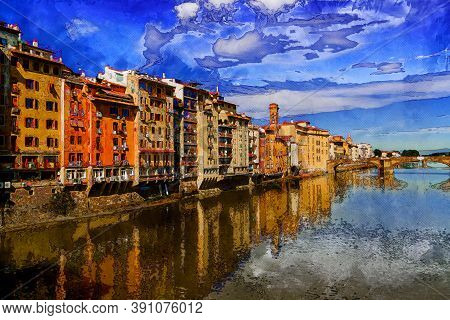 View To Embankment Of Arno River With Bridge And Medieval Buildings, Florence, Italy. Painted Style