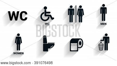 Toilet Icons Set In With Shadow., Toilet Signs, Restroom Icons. Bathroom Wc Signs. Flat Design. Vect