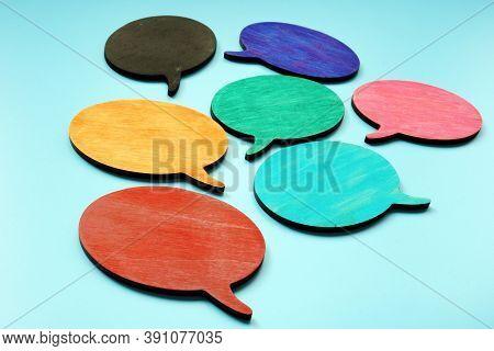 Multi Language, Diversity And Communication Concept. Colorful Quote Bubbles.