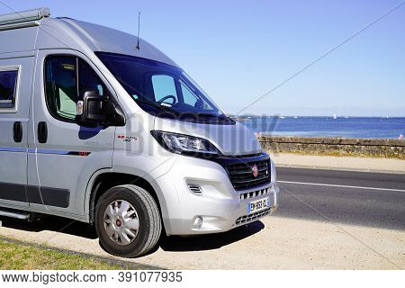 Ares, Aquitaine / France - 10 10 2020 : Fiat Ducato Campereve Campervan Parked By The Sea Side