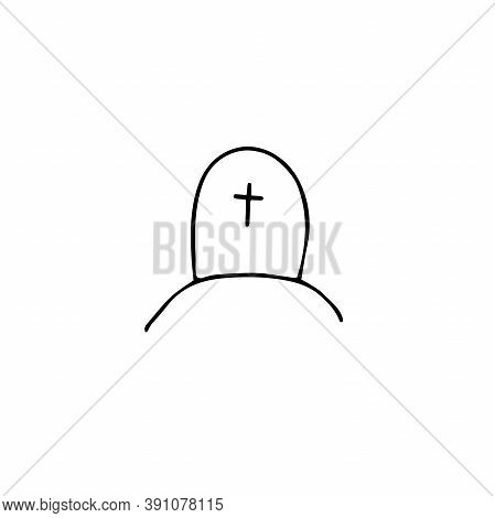 Vector Doodle Cross. Outline Grave Isolated On White Background. Headstone On The Tomb. Cartoon Ceme