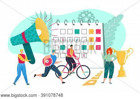 Monitor Business Team Work Concept, Vector Illustration. Flat Man Woman Employee People At Office, J