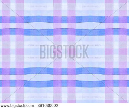 Blue Check Print. Watercolor Picnic Blanket. Retro Traditional Squares For Shirt Print. Seamless Vio