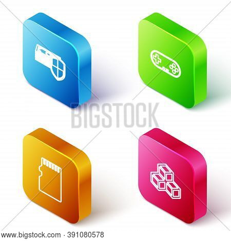 Set Isometric Line Money Protection, Gamepad, Micro Sd Memory Card And Isometric Cube Icon. Vector